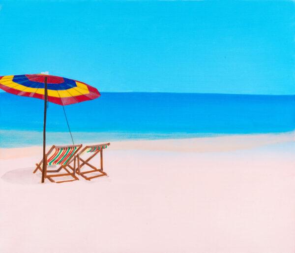Beach: Umbrella and Deck chairs